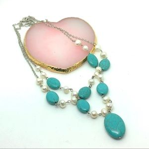 Turquoise Pearl beaded necklace
